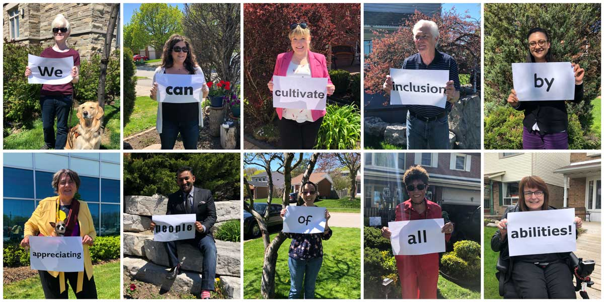 Photo collage of committee members holding signs that state