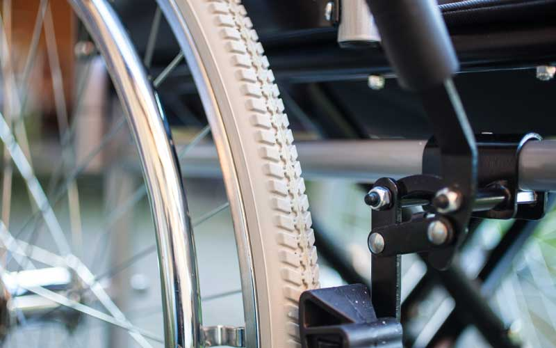 Close up of wheel chair wheel
