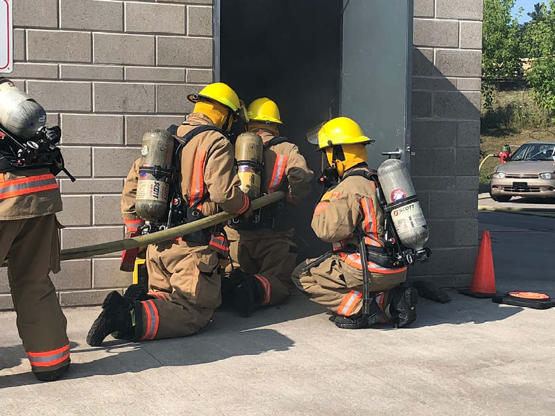 Firefighters practicing at facility
