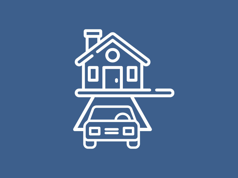 Car parked in driveway icon