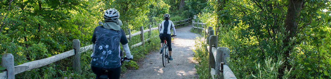 Residents riding on trail