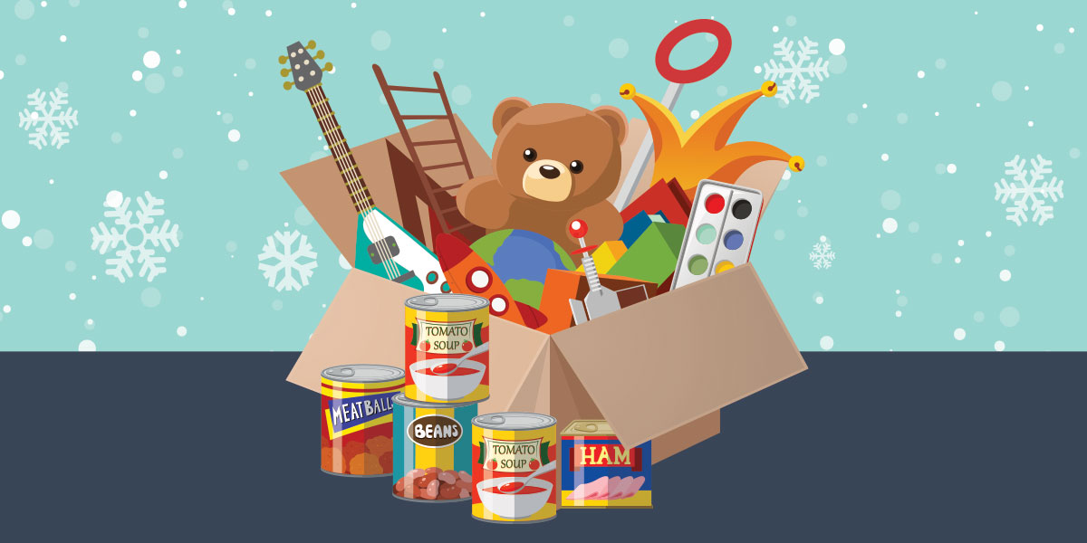 Holiday Toy Drive - Toys in a box with canned food around it