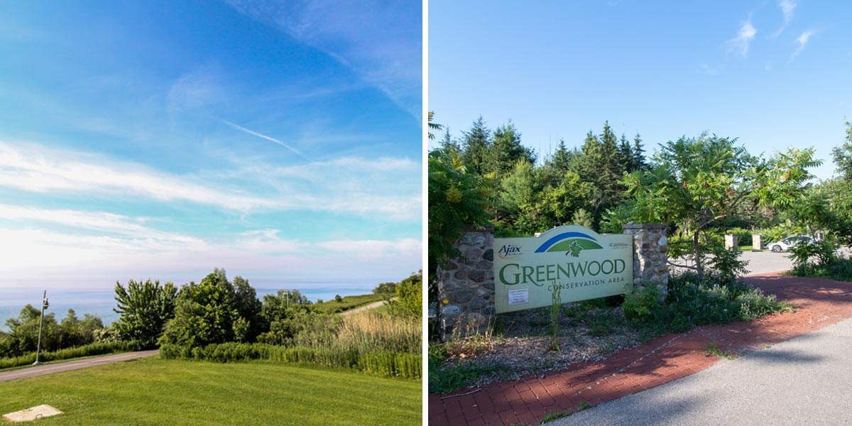 Image on left is Ajax Waterfront and image on right is Greenwood Conservation Area