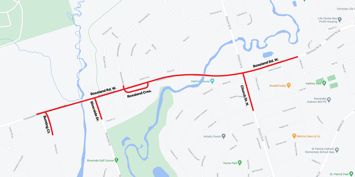 Rossland road map of construction