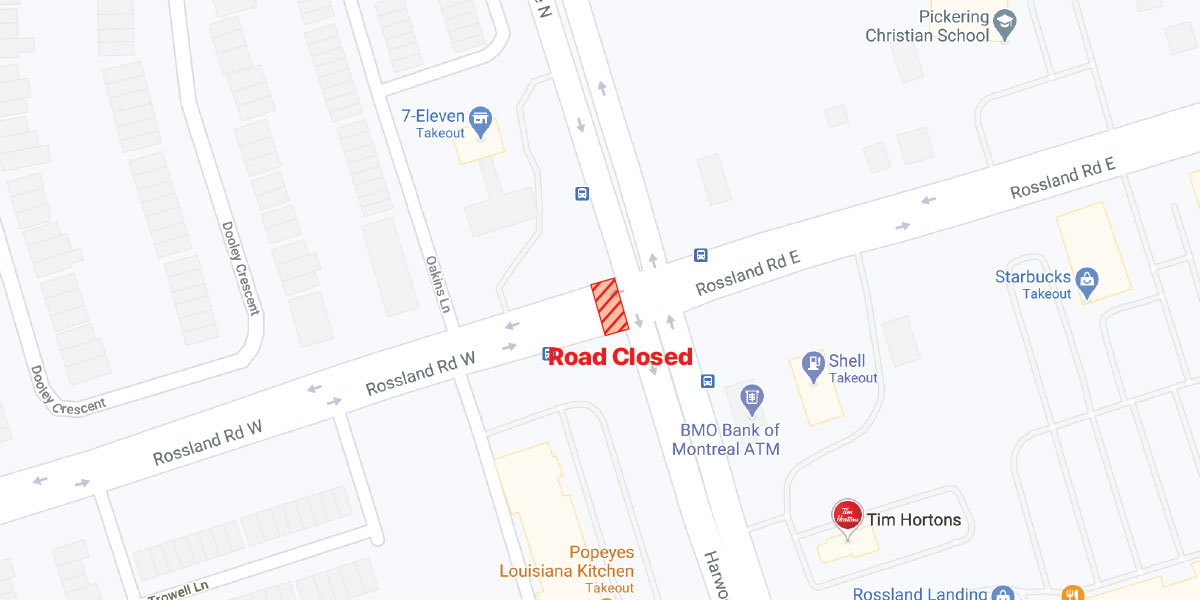 Rossland Rd closure at Harwood Ave